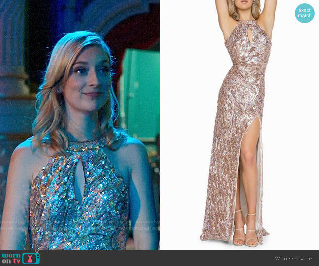 Mac Duggal Sequined Bodycon Halter Gown worn by Serena (Caitlin FitzGerald) on UnReal