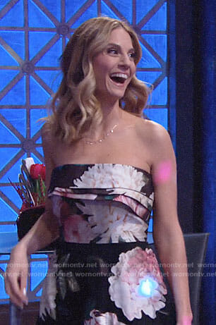 Mac's floral strapless dress on The Young and the Restless