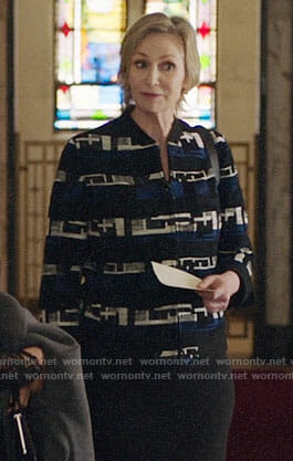 Madeline's black and blue tweed jacket on The Good Fight
