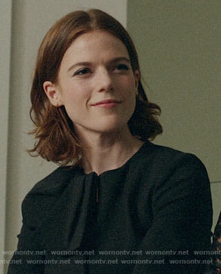 Maia's black bow jacket on The Good Fight
