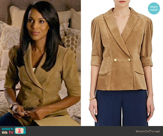 Maison Mayle Vita Suede Double-Breasted Jacket worn by Kerry Washington on HTGAWM