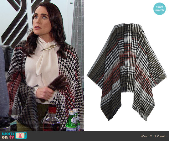 Maje Emilie Poncho worn by Rena Sofer on The Bold & the Beautiful