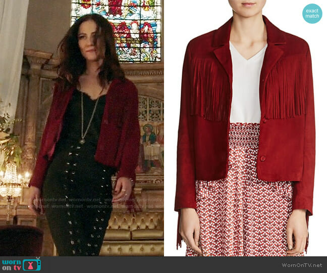 Maje Varsity Fringe Jacket worn by Princess Eleanor (Alexandra Park) on The Royals