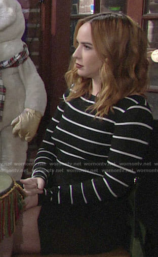 Mariah's black and white striped dress on The Young and the Restless