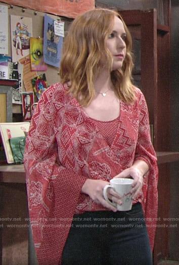 Mariah's red printed top with flared sleeves on The Young and the Restless