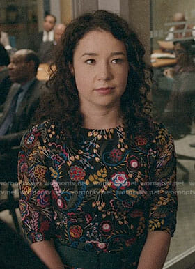 Marissa's black floral dress on The Good Fight