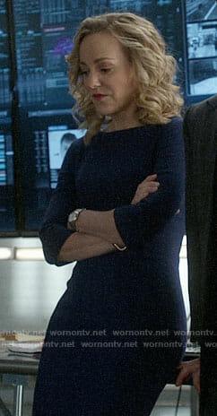 Marissa's blue three-quarter sleeve sheath dress on Bull