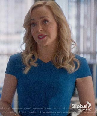Marissa's blue v-neck dress on Bull