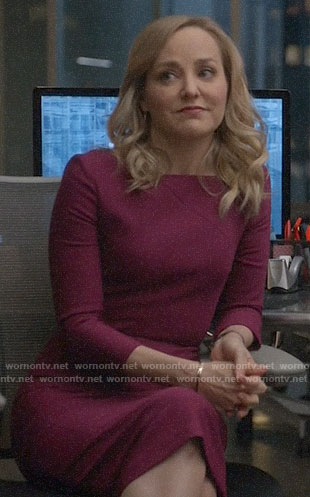Marissa's magenta asymmetric neck dress on Bull