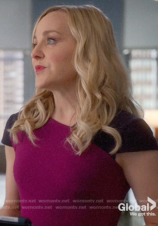 Marissa's purple and pink colorblock dress on Bull
