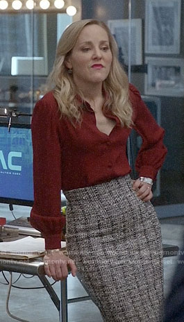 Marissa's red shirt and tweed pencil skirt on Bull