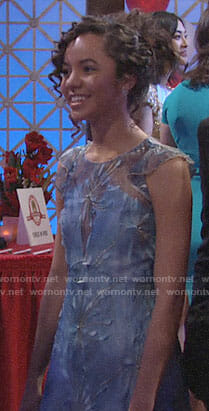 Mattie's blue embroidered dress on The Young and the Restless