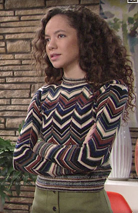 Mattie's chevron striped sweater on The Young and the Restless
