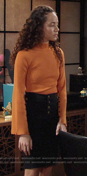 Mattie's orange bell sleeve sweater on The Young and the Restless