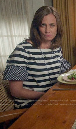 Maya's striped top with gingham ruffles on Splitting Up Together