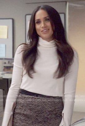 Rachel's (Meghan Markle) white turtleneck sweater on Suits
