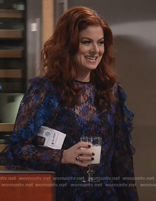 Grace's blue lace top with ruffles on Will and Grace