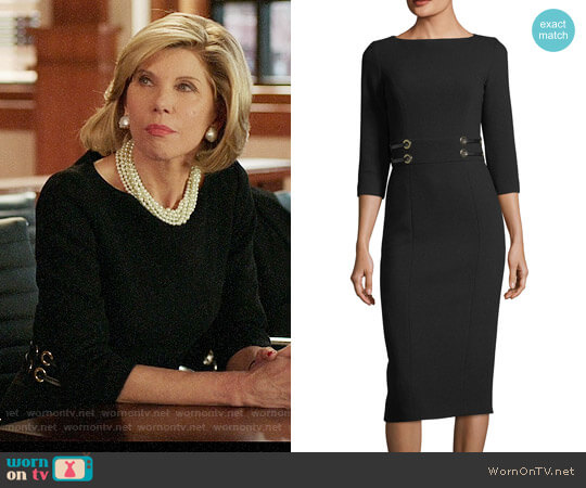 Michael Kors Collection Leather-Trim Boucle Crepe Sheath Dress worn by Christine Baranski on The Good Fight