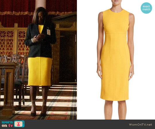 Michael Kors Stretch Bouclé Crepe Sheath Dress worn by Viola Davis on HTGAWM
