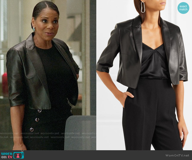 Michael Kors Collection Cropped Leather Jacket worn by Audra McDonald on The Good Fight
