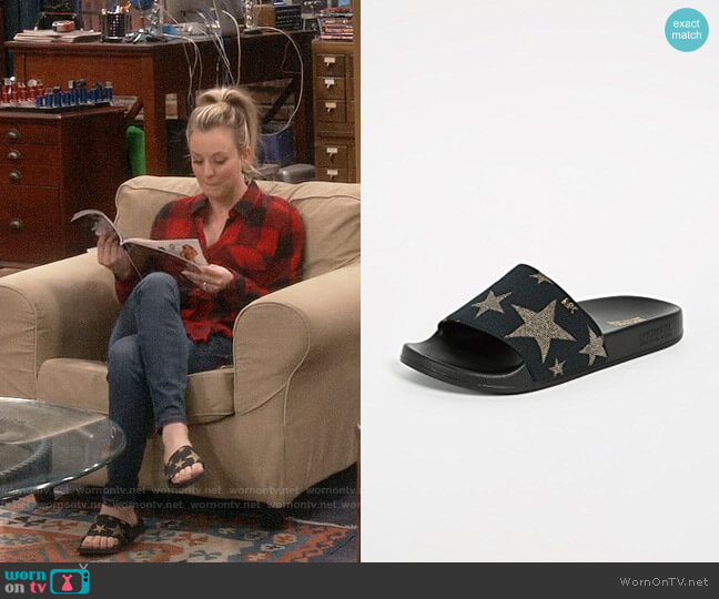 MICHAEL Michael Kors Sia Star Slides worn by Penny Hofstadter (Kaley Cuoco) on The Big Bang Theory