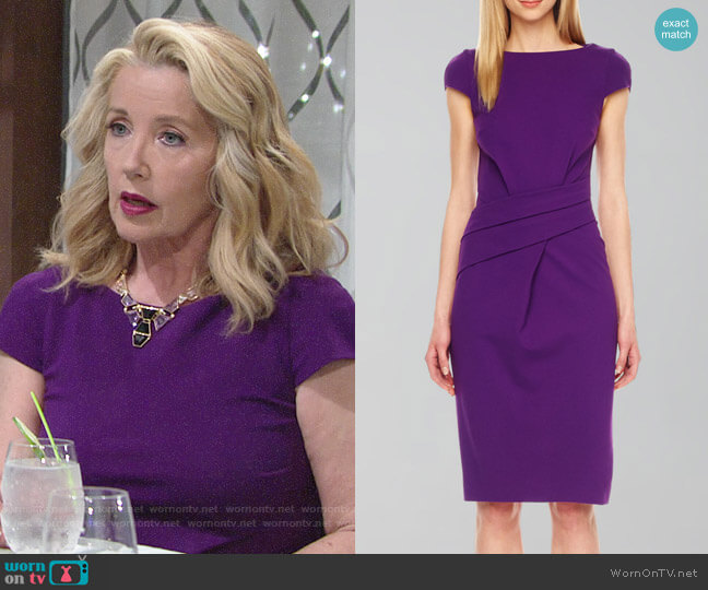 Michael Kors Wrap-Waist Ponte Dress worn by Nikki Reed Newman (Melody Thomas-Scott) on The Young & the Restless