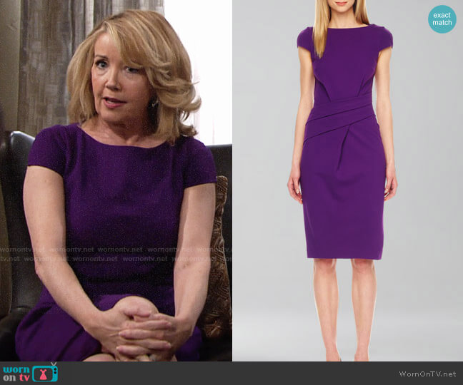 Michael Kors Wrap-Waist Ponte Dress worn by Melody Thomas-Scott on The Young & the Restless