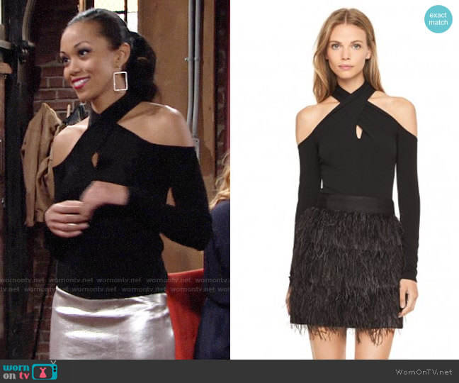 Milly Wrap Keyhole Top worn by Hilary Curtis (Mishael Morgan) on The Young & the Restless