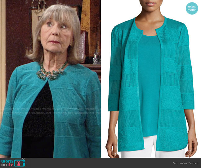 Misook Textured Lines Long Jacket worn by Marla Adams on The Young & the Restless
