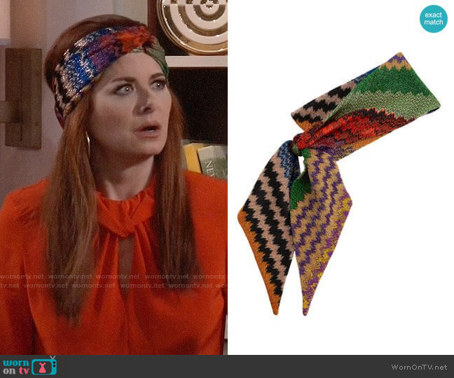 Lurex Zig Zag Scarf by Missoni worn by Debra Messing on Will & Grace