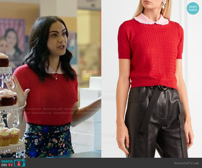 Miu Miu Lace-trimmed cable-knit cashmere and silk-blend sweater worn by Veronica Lodge (Camila Mendes) on Riverdale