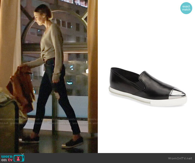 Miu Miu Metal Cap Toe Skate Sneaker worn by Willa Holland on Arrow