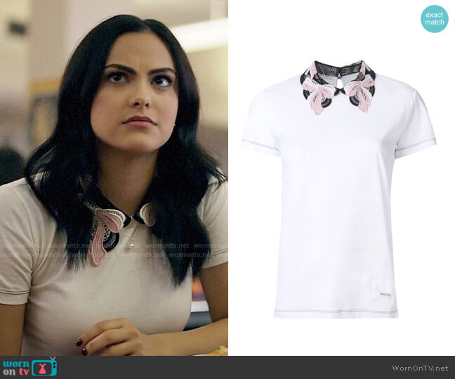 Miu Miu Embroidred Collar T-shirt worn by Camila Mendes on Riverdale