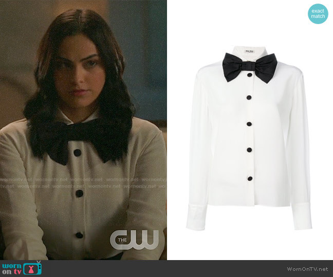 Miu Miu Oversized Bow Tie Shirt worn by Camila Mendes on Riverdale