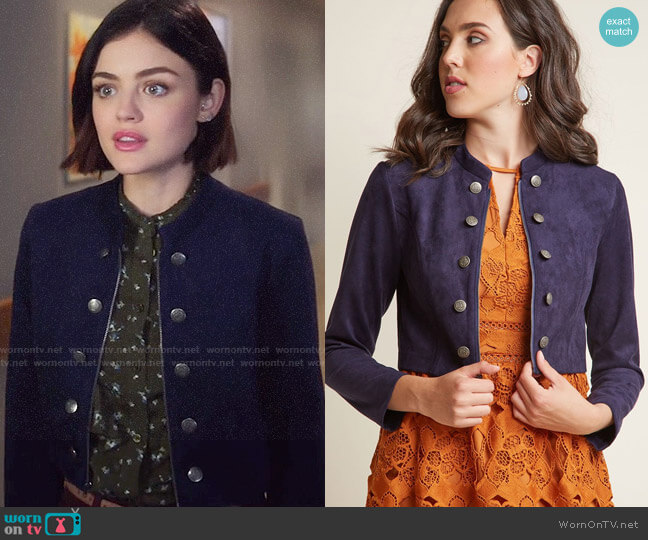 Modcloth Haute Hustle Faux-Suede Cropped Jacket worn by Lucy Hale on Life Sentence