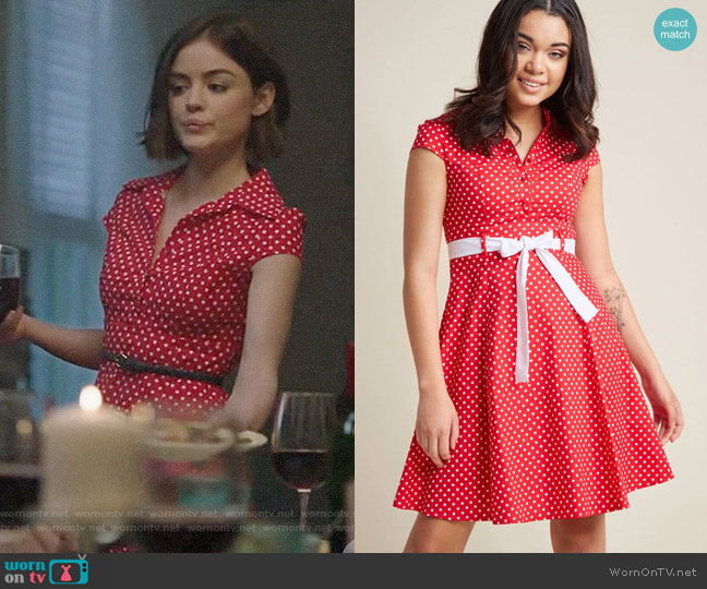 ModCloth Hepcat Soda Fountain A-Line Dress worn by Stella Abbott (Lucy Hale) on Life Sentence