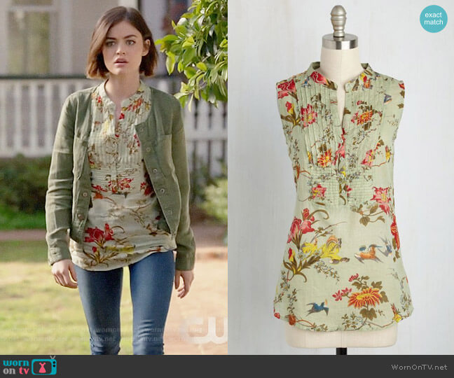 ModCloth On Your Roam Time Cotton Tunic in Aviary worn by Lucy Hale on Life Sentence