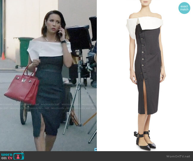 Monse Off-Shoulder Pinstriped Cocktail Dress worn by Deann Anderson (Lexa Doig) on The Arrangement