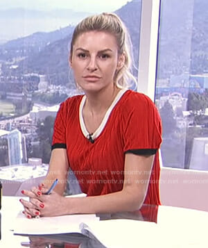 Morgan's red short sleeve sweater on E! News Daily Pop