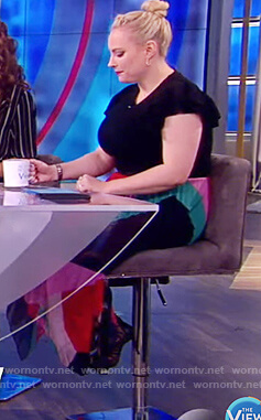 Meghan's multi-colored pleated skirt on The View