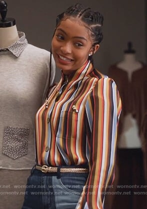 Zoey's striped shirt and patchwork jeans on Grown-ish