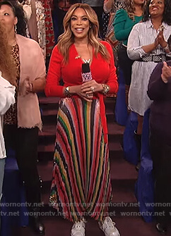 Wendy's red wrap top and striped pleated skirt on The Wendy Williams Show