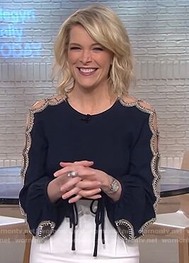 Megyn's navy embellished top on Megyn Kelly Today