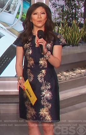 Julie's navy fireworks print dress on The Talk