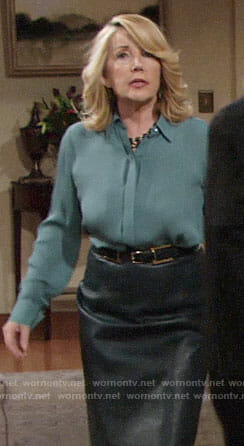 Nikki's teal green button down blouse and leather pencil skirt on The Young and the Restless