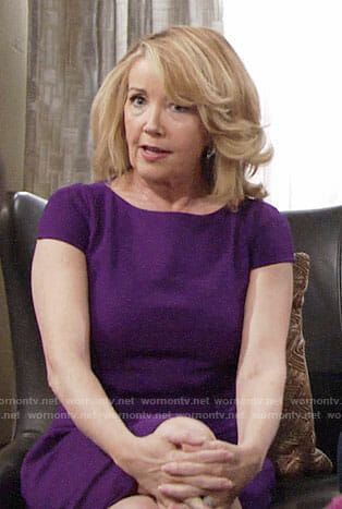 Nikki's purple capped sleeve dress on The Young and the Restless