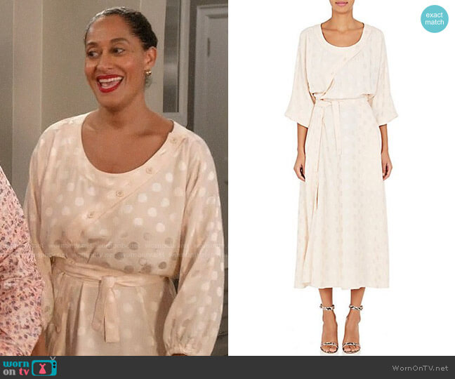 Nina Ricci Silk Polka Dot Asymmetric Button Dress worn by Tracee Ellis Ross on Blackish