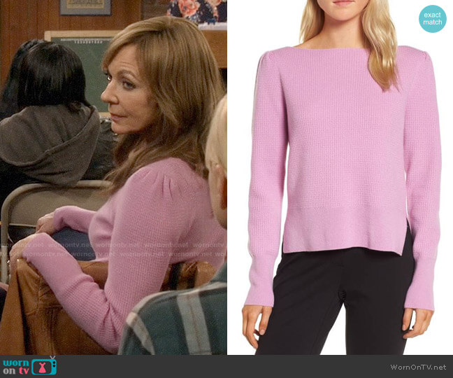Nordstrom Signature Waffle Stitch Cashmere Sweater  worn by Allison Janney on Mom