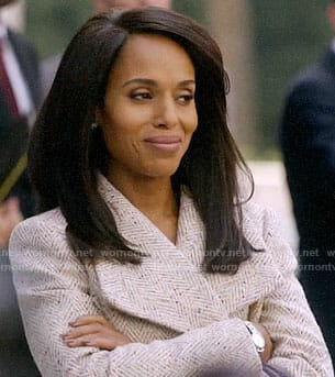 Olivia Pope's herringbone coat on How to Get Away with Murder