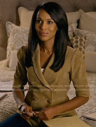 Olivia Pope's suede short sleeve jacket on How to Get Away with Murder